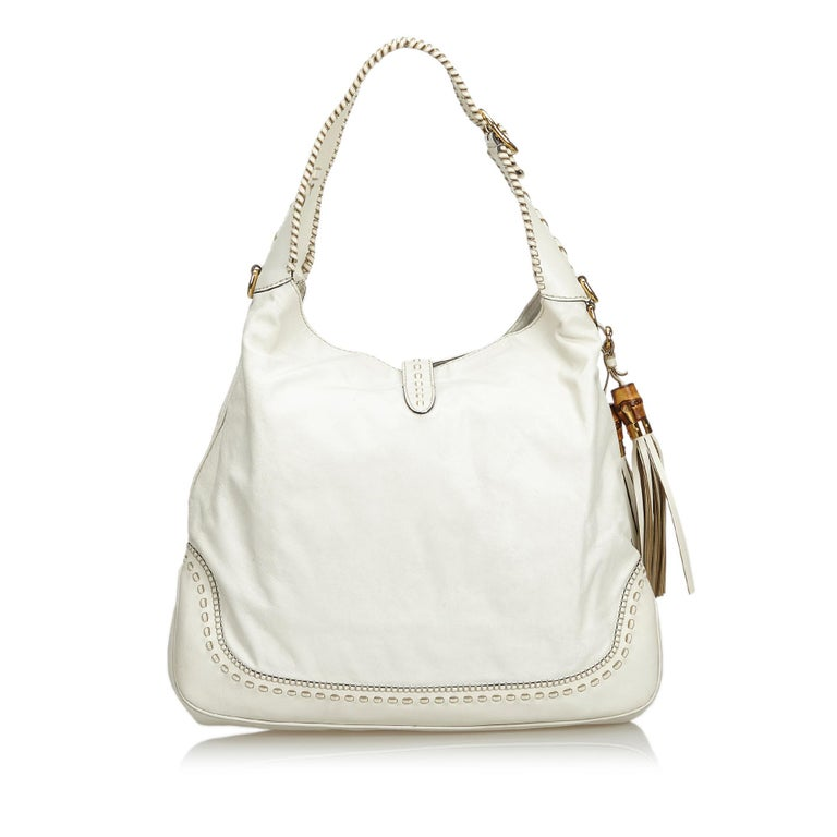 Gucci White Leather New Jackie Bamboo Satchel In Good Condition In Orlando, FL