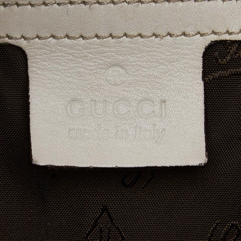 Gucci White Leather New Jackie Bamboo Satchel 2