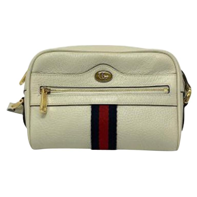 Gucci White Leather Ophidia Bag For Sale
