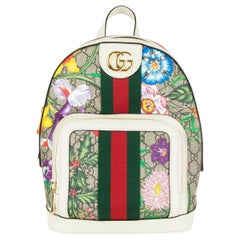 GUCCI white leather OPHIDIA GG FLORAL SMALL Backpack Bag