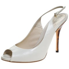 Gucci White Leather Peep Toe Slingback Sandals Size 40.5