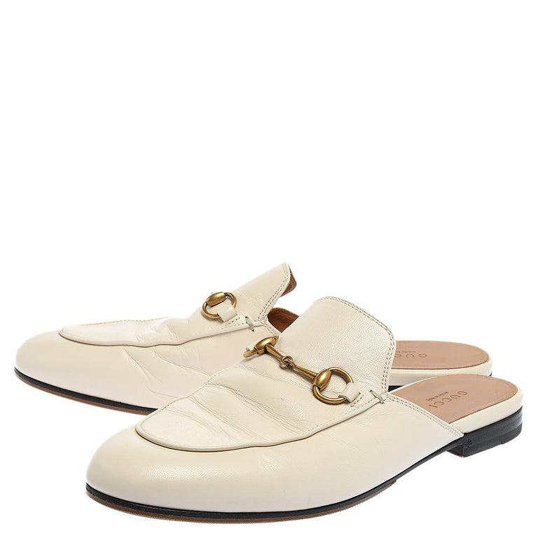 Women's Gucci White Leather Princetown Horsebit Mules Size 39.5 For Sale