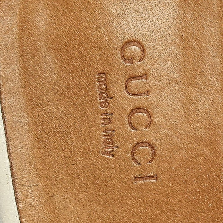 Gucci White Leather Princetown Horsebit Mules Size 39.5 For Sale 1