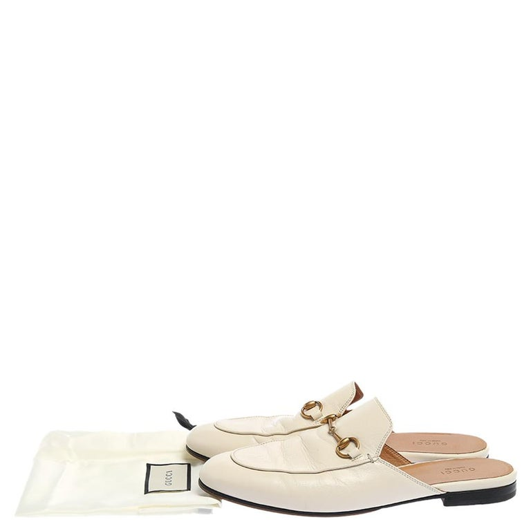 Gucci White Leather Princetown Horsebit Mules Size 39.5 For Sale 2