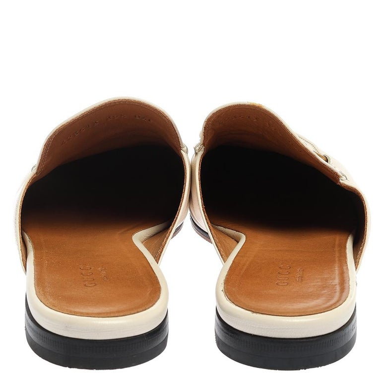 Gucci White Leather Princetown Horsebit Mules Size 39.5 For Sale 4