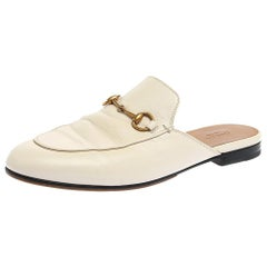 Gucci White Leather Princetown Horsebit Mules Size 39.5