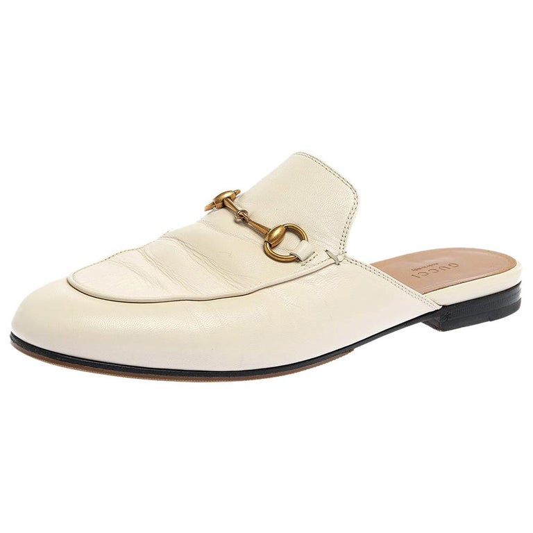 Gucci White Leather Princetown Horsebit Mules Size 39.5 For Sale