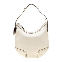 Gucci White Leather Princy Hobo