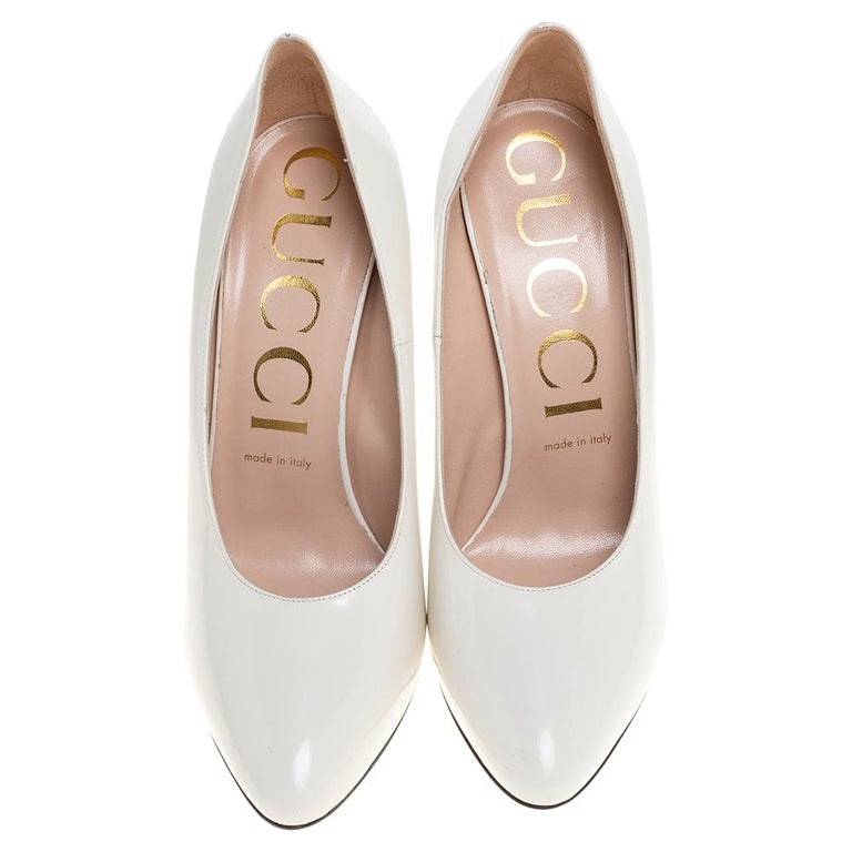 Women's Gucci White Leather Pumps Size 39 For Sale