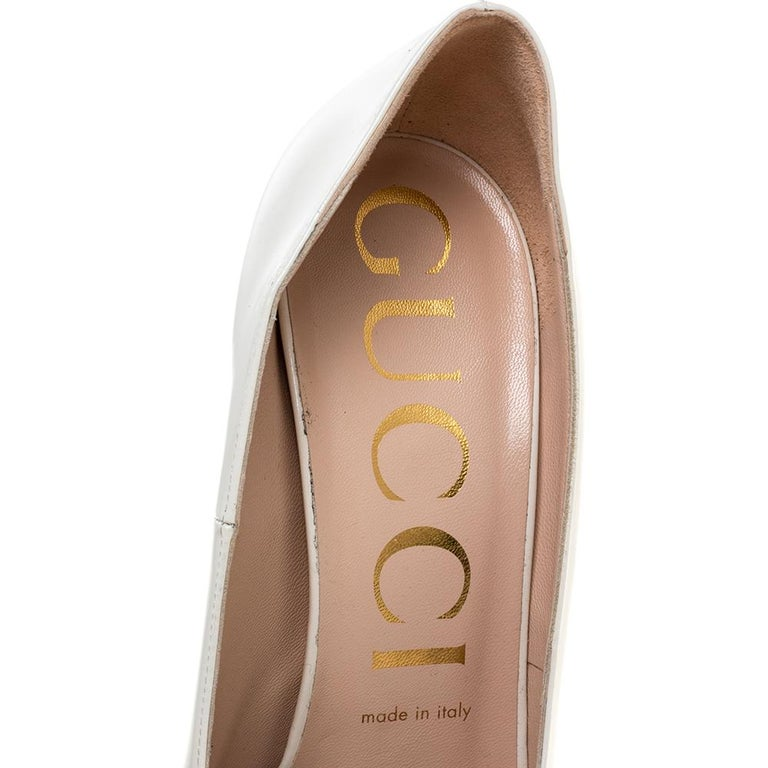 Gucci White Leather Pumps Size 39 For Sale 1