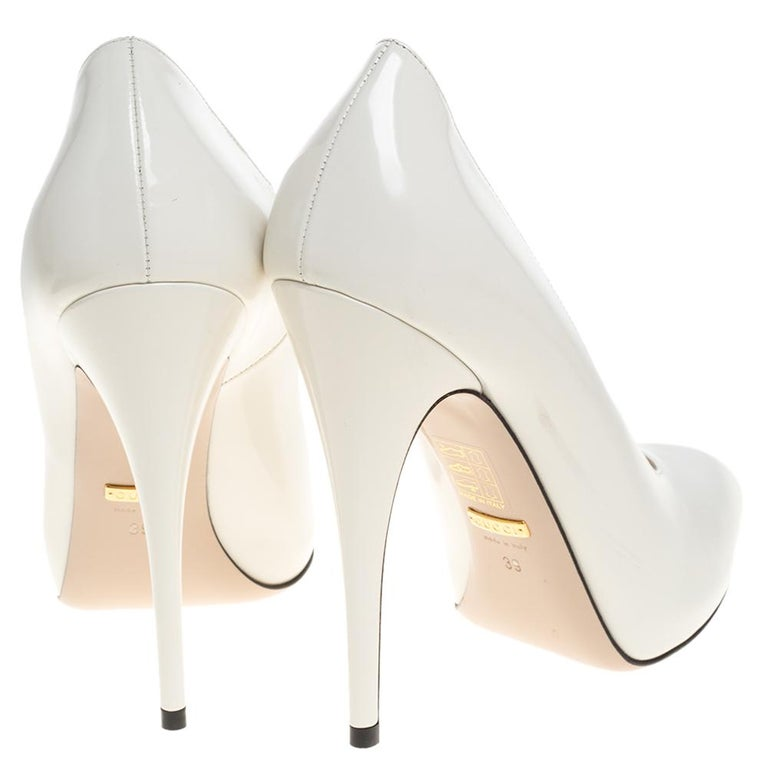 Gucci White Leather Pumps Size 39 For Sale 2