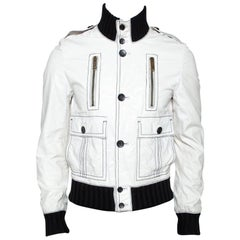 Gucci White Leather Rib Knit Trim Bomber Jacket M