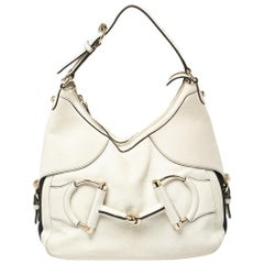 Gucci White Leather Small Web Horsebit Heritage Hobo
