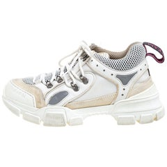 Gucci White Leather, Suede, And Mesh Logo Embossed Flashtrek Sneakers Size 38