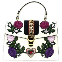 Gucci White Leather Sylvie Bag
