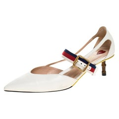 Gucci White Leather Sylvie Web Strap Bamboo Heel Unia Pumps Size 37