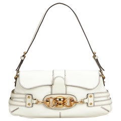 Gucci White  Leather Wave Shoulder Bag Italy w/ Dust Bag