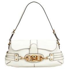 7526cdffbdde Gucci White Leather Techno Horsebit Shoulder Bag at 1stdibs