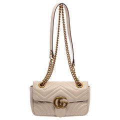 Gucci White Matelasse Leather Small GG Marmont Shoulder Bag