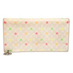 Gucci White Micro GG Supreme Canvas Neon Stars Continental Wallet