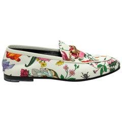 Gucci White & Multicolor Flora Horsebit Loafers