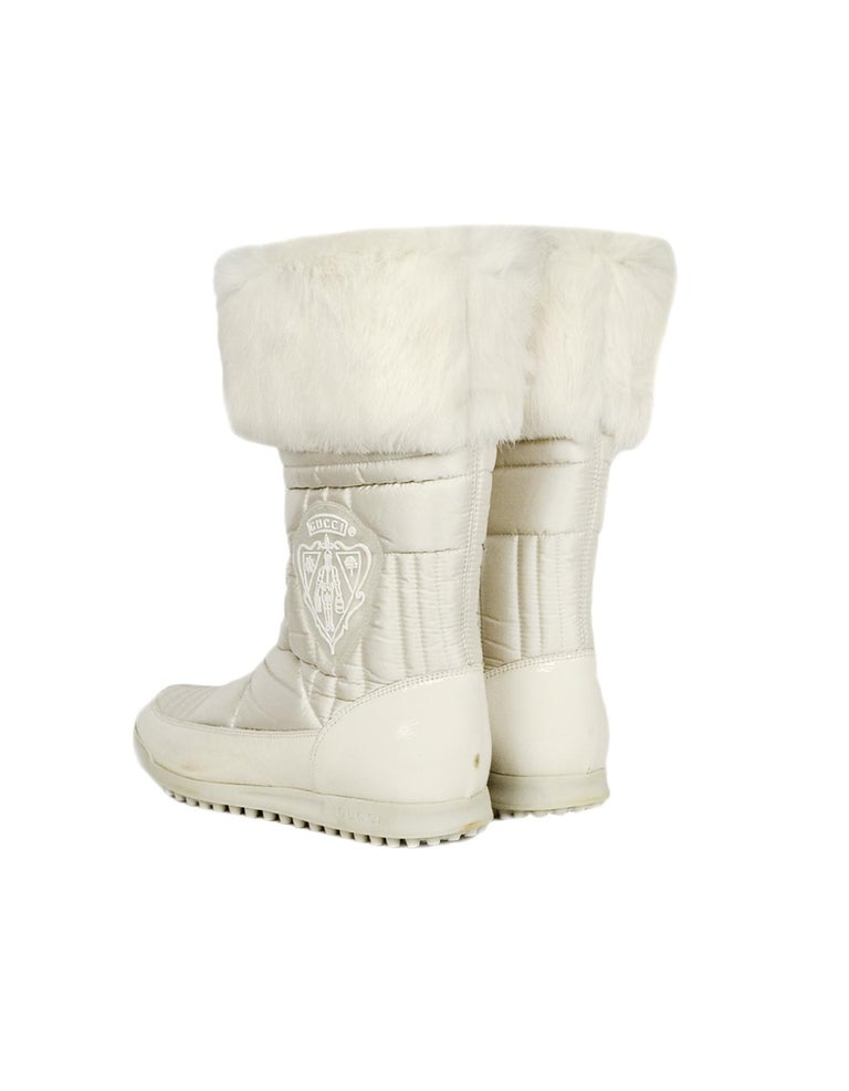 5428ad1cc Women's Gucci White Nylon Quilted Puffer Boots W/ Fur Trim & Side Crests Sz  37.5