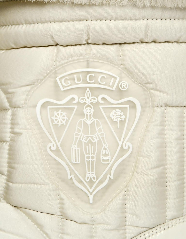 790f633e5 Gucci White Nylon Quilted Puffer Boots W/ Fur Trim & Side Crests Sz 37.5 For