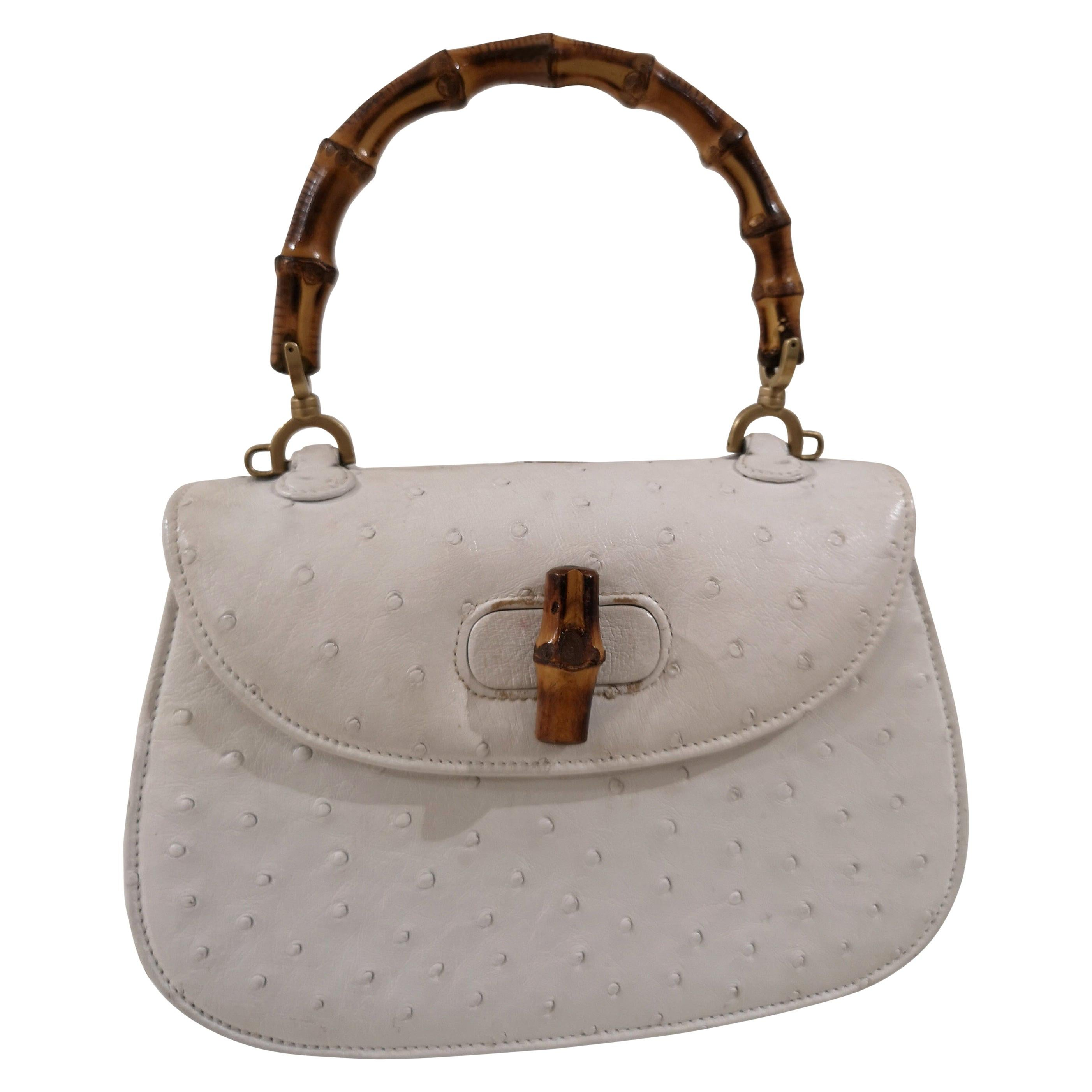 Gucci White Ostrich Leather Bamboo Bag