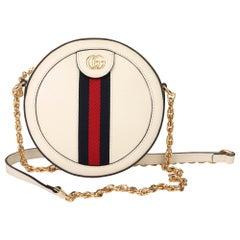 Gucci White Pigskin Leather Web Mini Round Orphidia Shoulder Bag