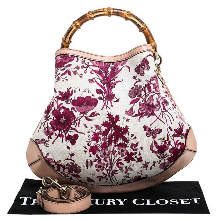 Gucci White/Pink Floral Canvas and Leather Peggy Bamboo Handle Hobo For Sale 8