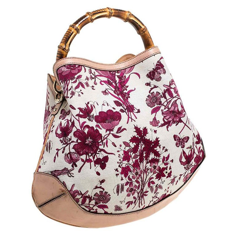 Gucci White/Pink Floral Canvas and Leather Peggy Bamboo Handle Hobo For Sale 1