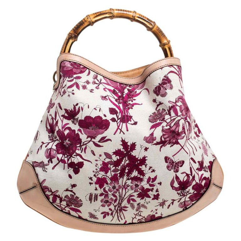 Gucci White/Pink Floral Canvas and Leather Peggy Bamboo Handle Hobo For Sale