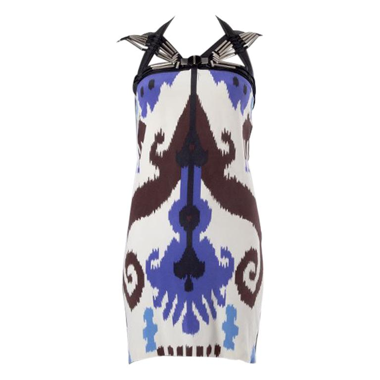 GUCCI white & purple silk EMBELLISHED BODYCON Cocktail Dress 40