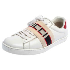 Gucci White/Red Leather Ace Gucci Band Low Top Sneakers Size 42.5