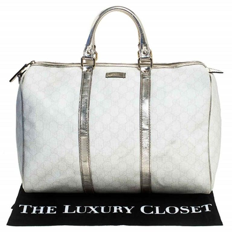 Gucci White/Silver GG Supreme Canvas and Leather Joy Boston Bag For Sale 8