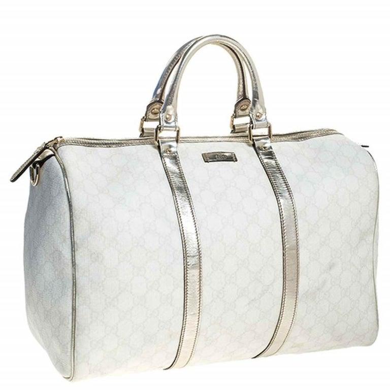Women's Gucci White/Silver GG Supreme Canvas and Leather Joy Boston Bag For Sale