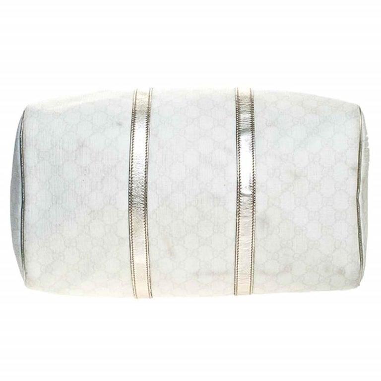 Gucci White/Silver GG Supreme Canvas and Leather Joy Boston Bag For Sale 1