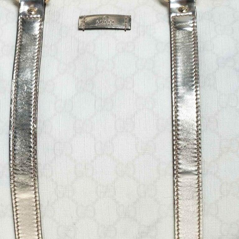 Gucci White/Silver GG Supreme Canvas and Leather Joy Boston Bag For Sale 2