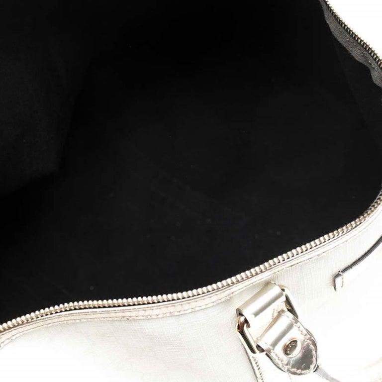 Gucci White/Silver GG Supreme Canvas and Leather Joy Boston Bag For Sale 3