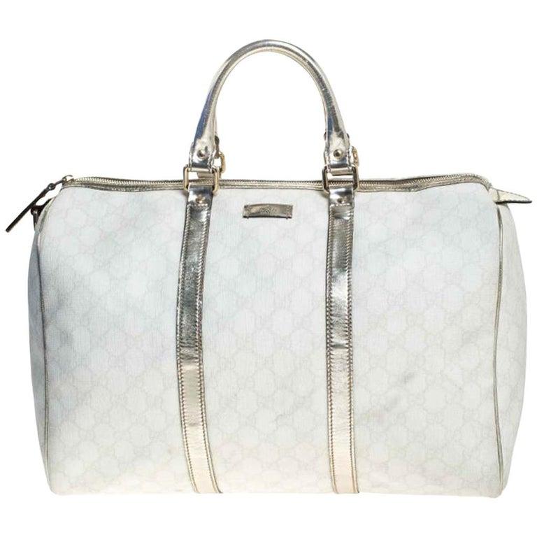 Gucci White/Silver GG Supreme Canvas and Leather Joy Boston Bag For Sale