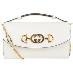 GUCCI white smooth leather ZUMI MINI Shoulder Bag