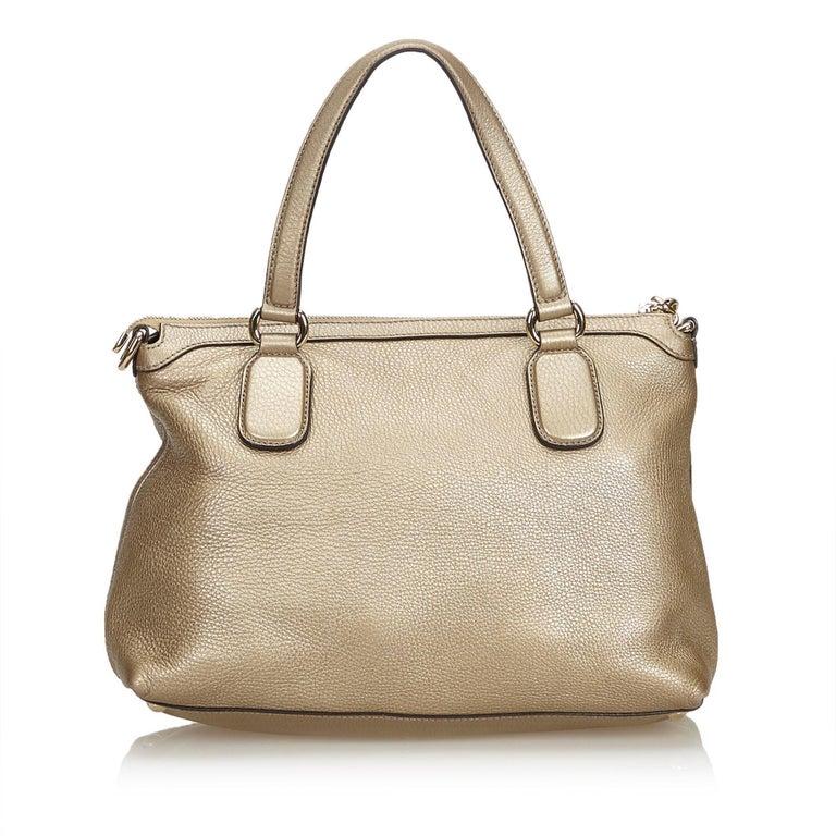 Gucci White Soho Leather Handbag In Good Condition In Orlando, FL