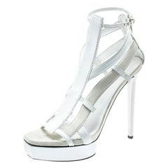 c765729a3 Gucci White Suede And Leather Daryl Platform Sandals Size 39