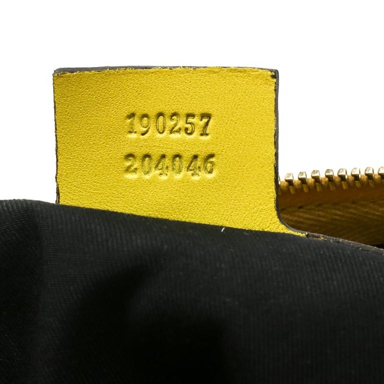 Gucci White/Yellow GG Supreme Canvas Small Web Joy Boston Bag For Sale 5