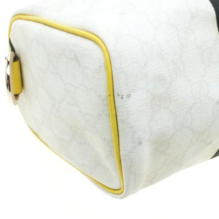 Gucci White/Yellow GG Supreme Canvas Small Web Joy Boston Bag For Sale 6