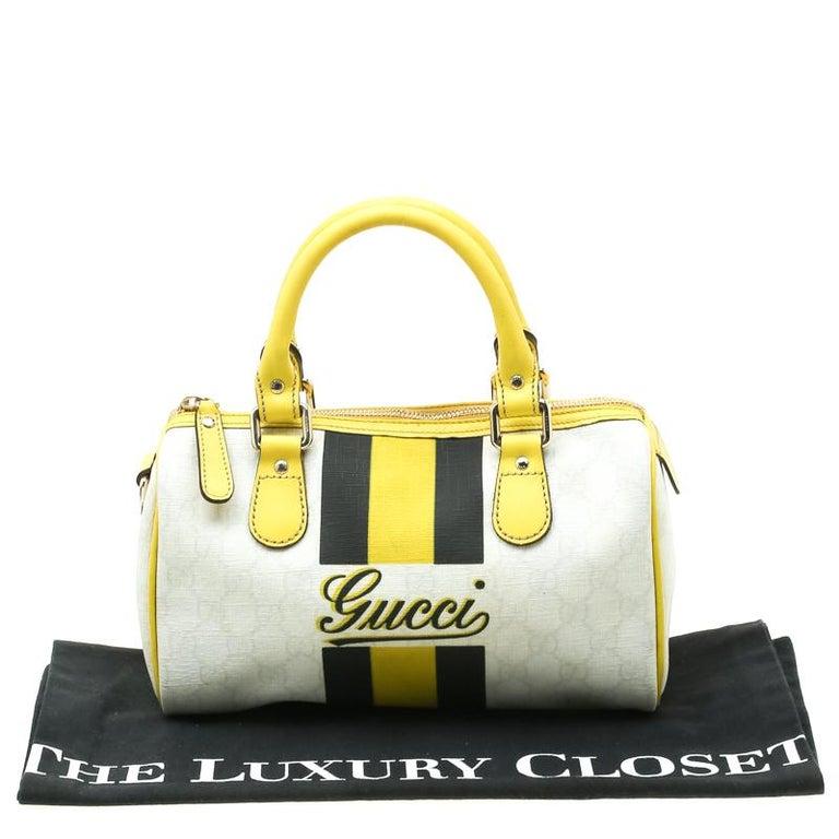 Gucci White/Yellow GG Supreme Canvas Small Web Joy Boston Bag For Sale 7