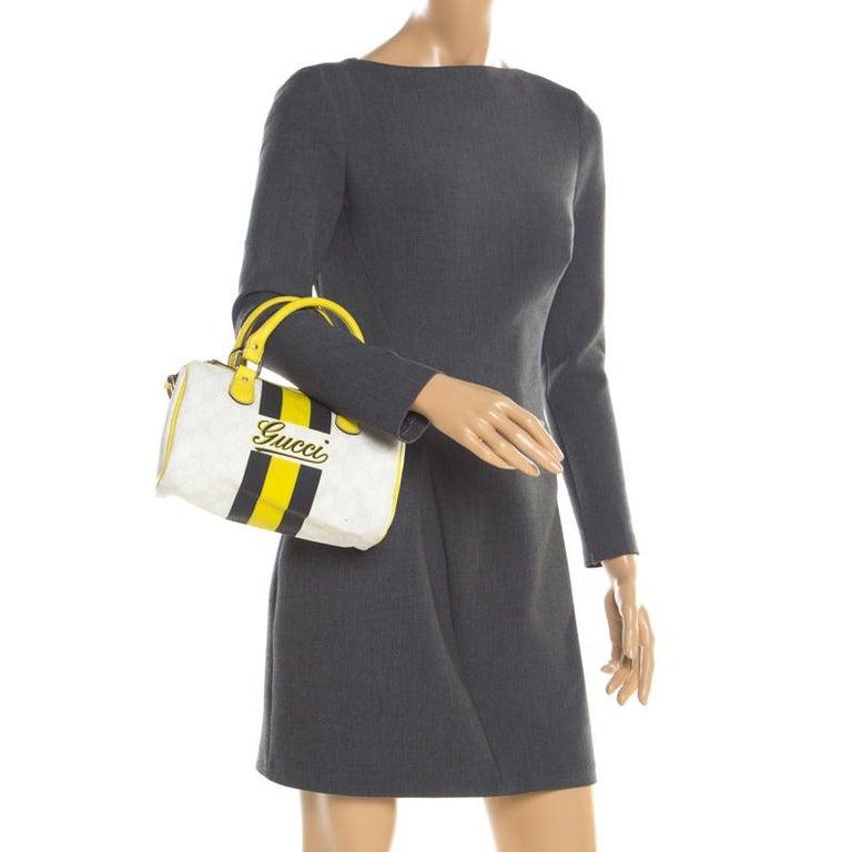 Beige Gucci White/Yellow GG Supreme Canvas Small Web Joy Boston Bag For Sale