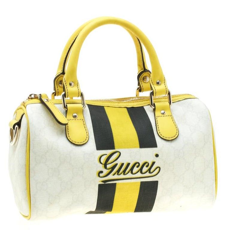 Gucci White/Yellow GG Supreme Canvas Small Web Joy Boston Bag In Good Condition For Sale In Dubai, Al Qouz 2