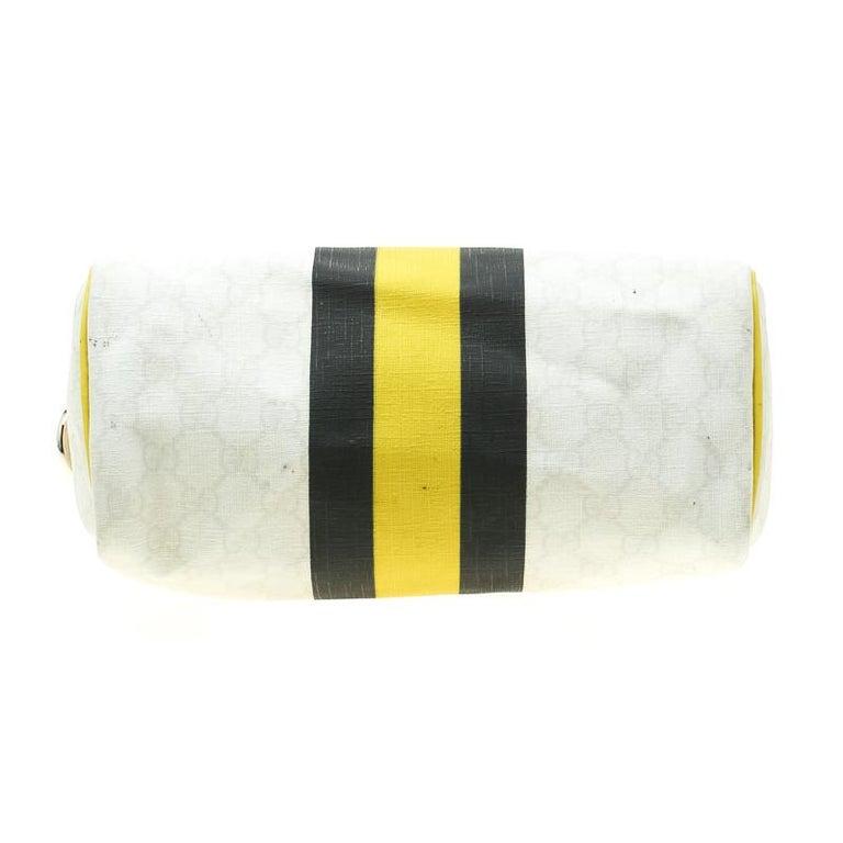 Women's Gucci White/Yellow GG Supreme Canvas Small Web Joy Boston Bag For Sale