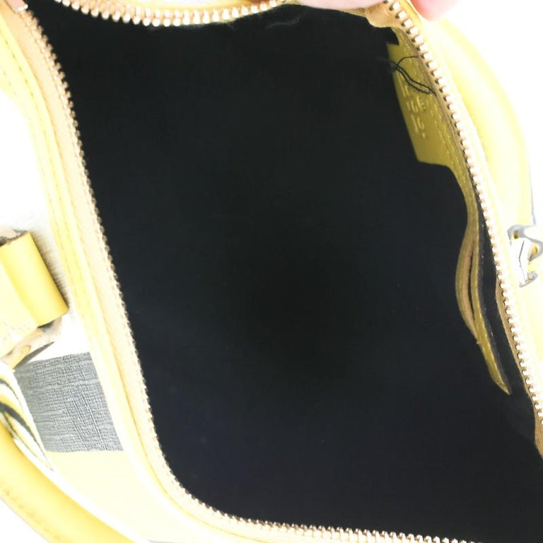 Gucci White/Yellow GG Supreme Canvas Small Web Joy Boston Bag For Sale 2